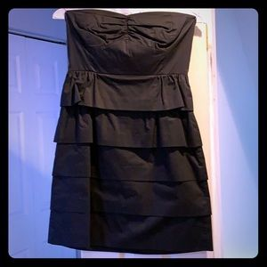 Black Jcrew tiered cotton dress hidden back zip